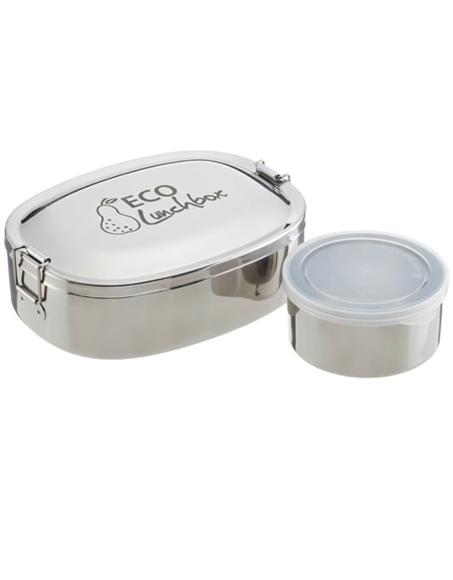 eco lunchbox oval 2 piece food grade stainless steel bento lunch box. Black Bedroom Furniture Sets. Home Design Ideas