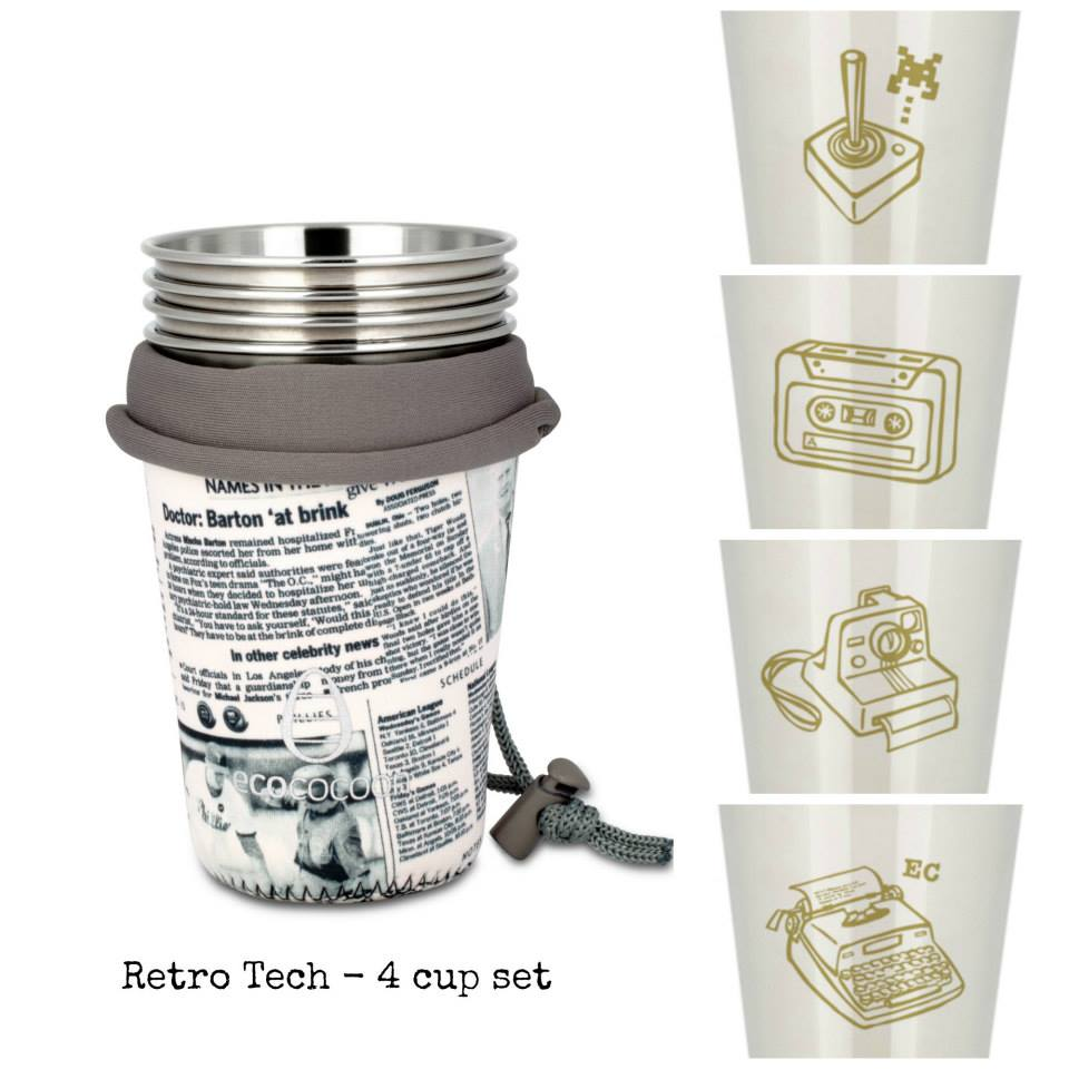 Ecococoon Stainless Steel 4 Cup Set Retro Tech