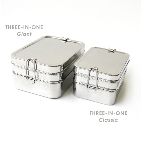 giant rectangle 3 piece stainless steel lunchbox. Black Bedroom Furniture Sets. Home Design Ideas
