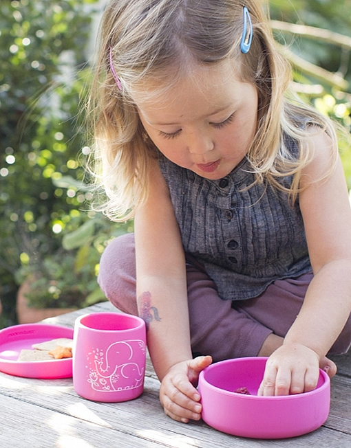 Pink, mini-twist Silicone Toddler Bowl and Lid