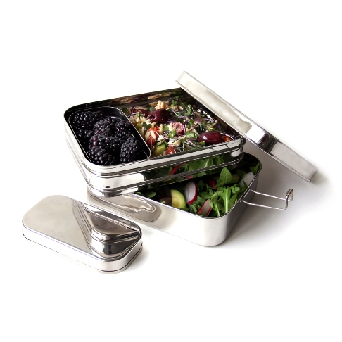Giant Rectangle 3 Piece Stainless Steel Lunchbox